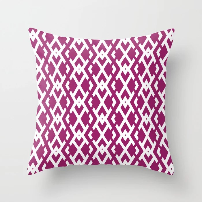 Magenta and White Diamond Vertical Zig Zag Pattern - Colour of the Year 2022 Orchid Flower 150-38-31 Throw Pillow