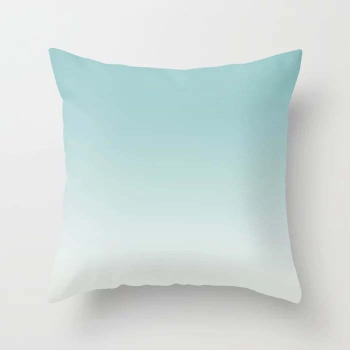 Pastel Teal and White Gradient Ombre Blend 2021 Color of the Year Aqua Fiesta & Delicate White Throw Pillow