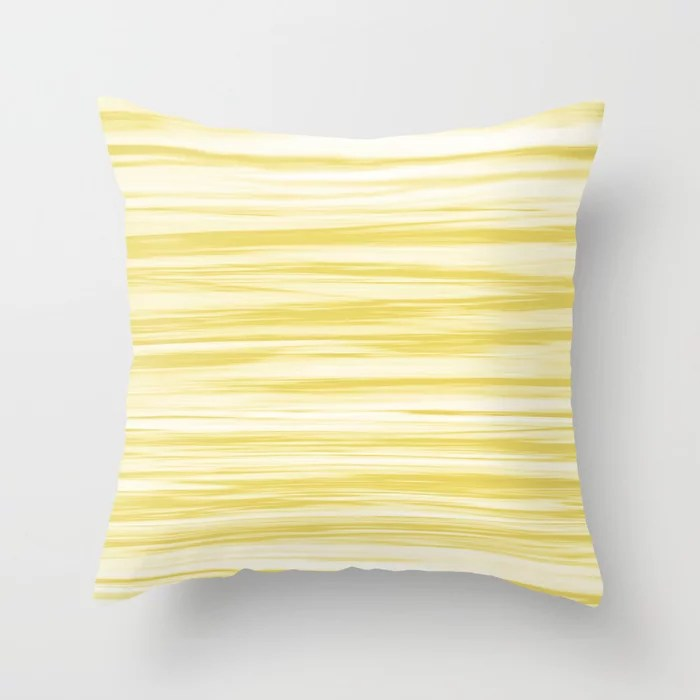 Yellow and White Stripes Watercolor Blend - Lemon Sherbet Throw Pillow