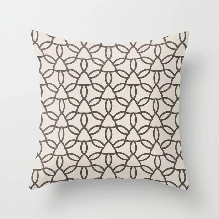 Dark Brown Cream Tessellation Line Pattern 32 2021 Color of the Year Urbane Bronze and Shoji White Throw Pillow