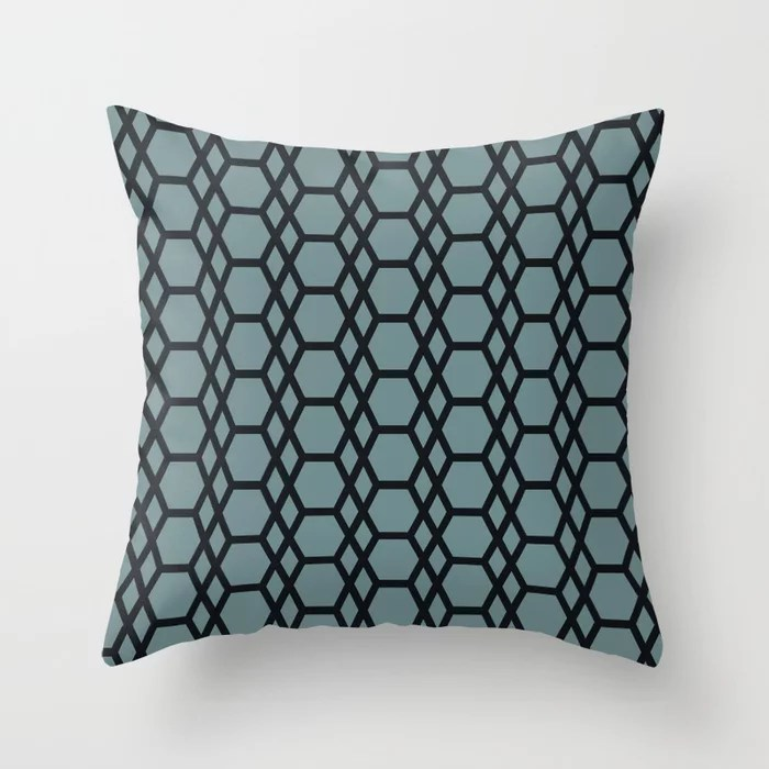 Blue-Green Black Line Pattern 13 Hexagon Diamond 2021 Color of the Year Aegean Teal and Jet Black Throw Pillow