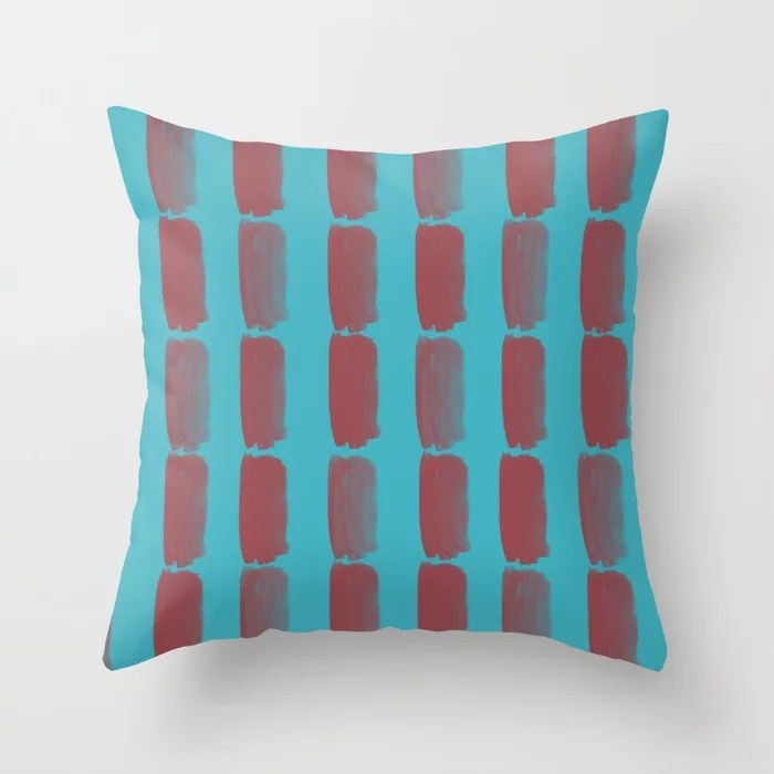 Red and Aqua Grid Brushstroke Pattern 2021 Color of the Year Passionate & September Skies Throw Pillow