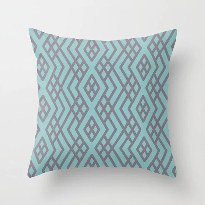 Aquamarine Purple Geometric Mosaic Pattern 3 V2 2021 Color of the Year Aqua Fiesta and Magic Dust Throw Pillow