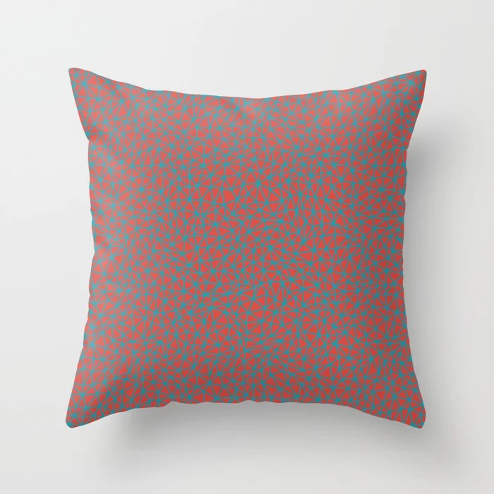 Aqua Blue and Red Triangle Shape Pattern 2021 Color of the Year AI Aqua and Oxy Fire Throw Pillow