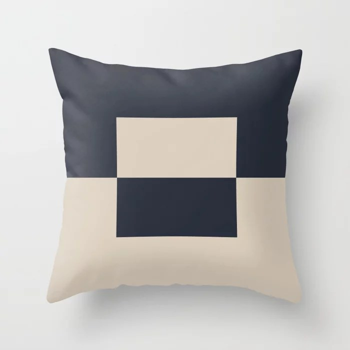Light Beige and Blue Minimal Square Design 2: Hues were inspired by and match (pair / coordinate with) 2021 Color of the Year Uptown Ecru and Classic Navy Throw Pillow