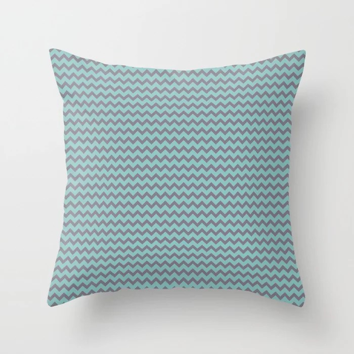 Pastel Teal and Purple Chevron Line Pattern 2021 Color of the Year Aqua Fiesta and Magic Dust Throw Pillow