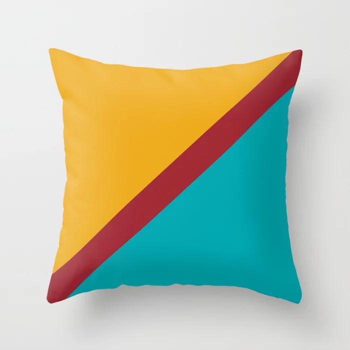 Orange Red Aqua Diagonal Stripe Pattern Rustoleum 2021 Color of the Year Satin Paprika & Accents Throw Pillow