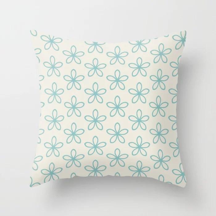 Aqua and Cream Minimal Flower Pattern 2021 Color of the Year Aqua Fiesta and Horseradish Throw Pillow