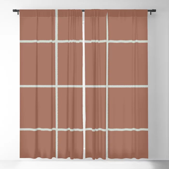 Mint Green and Terracotta Thin Check Pattern Behr 2022 Color of the Year Breezeway MQ3-21 Blackout Curtain. Decorating colors for 2022
