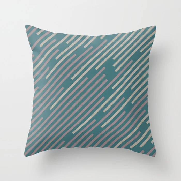 Pink-Purple Aqua Taupe Gray Diagonal Line Pattern Throw Pillows inspired by and pairs to (matches / coordinates with) Graham and Brown 2021 Color of the Year Accent Shades