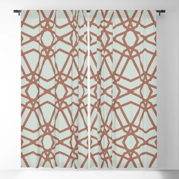 Pastel Green and Clay Line Geometric Pattern Pairs Behr 2022 Color of the Year Breezeway MQ3-21 Blackout Curtain. Decorating colors for 2022
