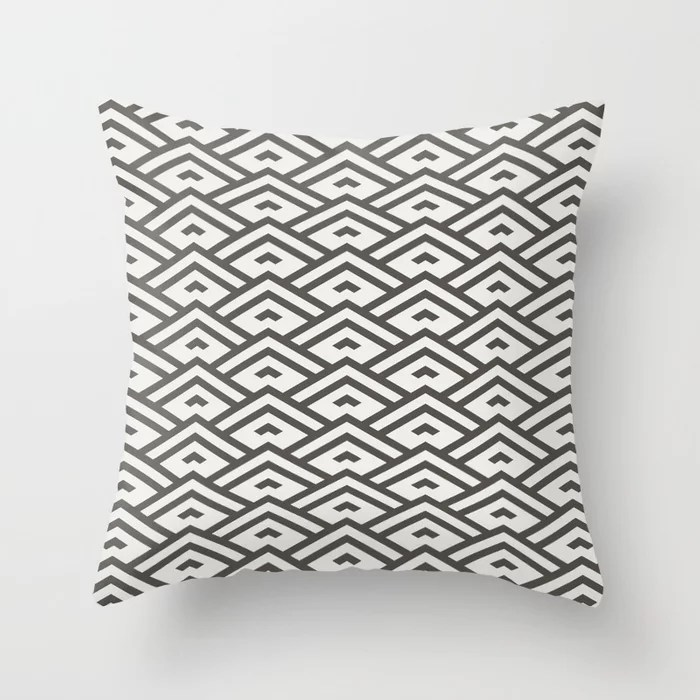 Dark Brown Off-White Tessellation Line Pattern 31 2021 Color of the Year Urbane Bronze & Extra White Throw Pillow