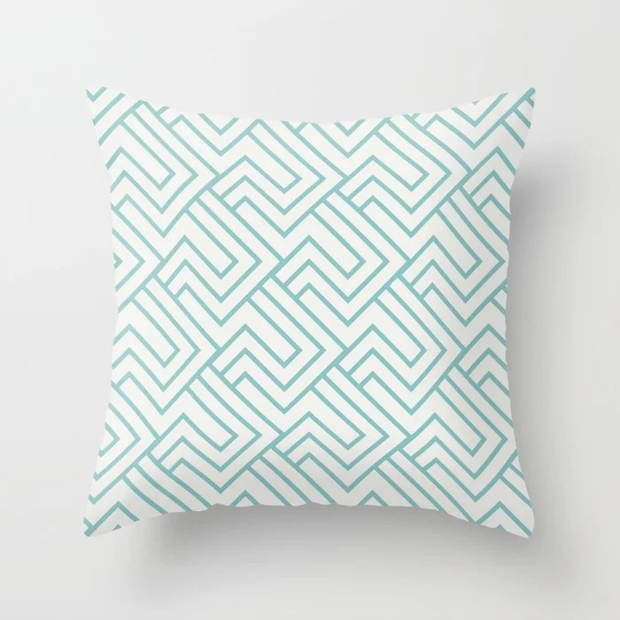 Aqua and White Minimal Line Art Pattern 2 Color of the Year Aqua Fiesta and Delicate White Throw Pillow