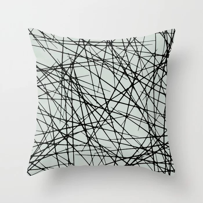 Pastel Green and Black Criss Cross Line Pattern Pairs Behr 2022 Color of the Year Breezeway MQ3-21 Throw Pillow. 2022 color scheme, trending interior design hue.