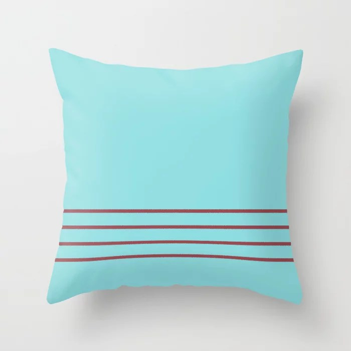 Red Pastel Blue Minimal Thin Line Pattern 2021 Color of the Year Passionate and Breezy Aqua Throw Pillow