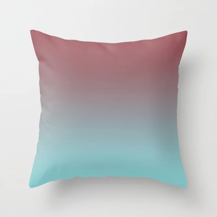 Red and Pastel Blue Gradient Ombre Fading Blend 2021 Color of the Year Passionate & Breezy Aqua Throw Pillow