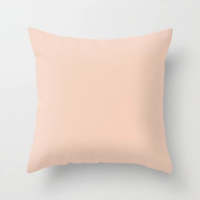 Pastel Pink Solid Color Accent Shade Matches Sherwin Williams Peach Blossom SW 6624 Throw Pillow