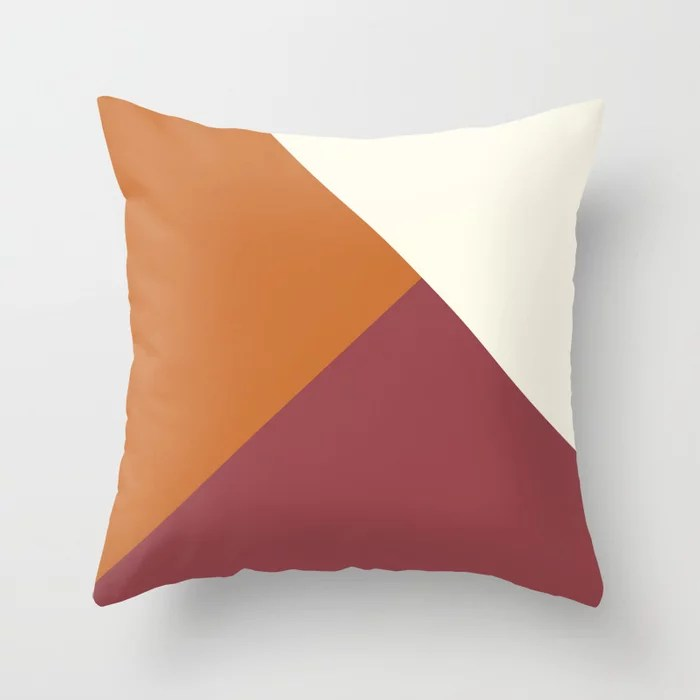 Red Orange Off White Solid Color Abstract Design Pairs HGTV 2021 Color of the Year Passionate Throw Pillow