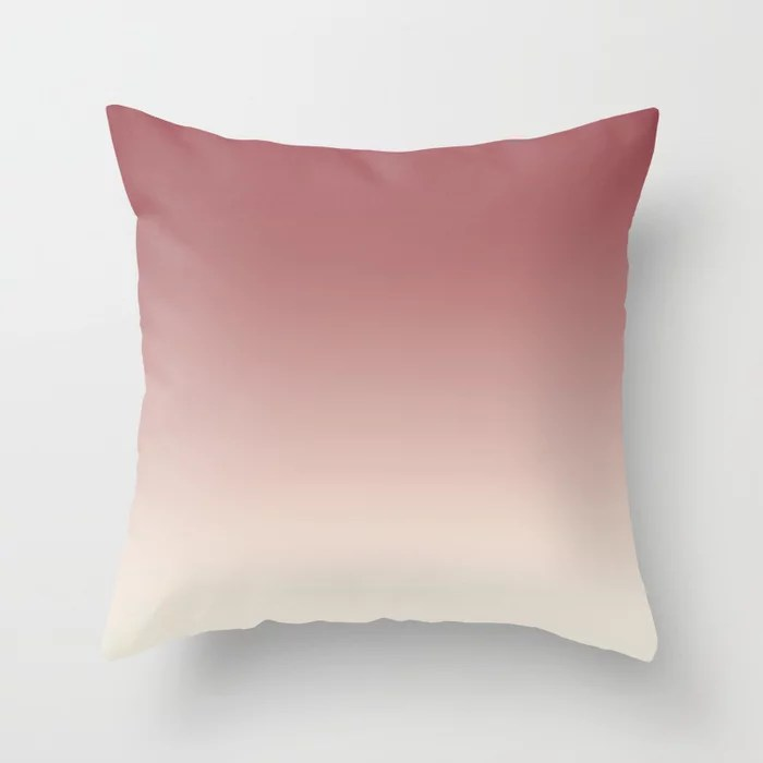 Red and Off White Gradient Ombre Fading Blend 2021 Color of the Year Passionate & Bohemian Lace Throw Pillow