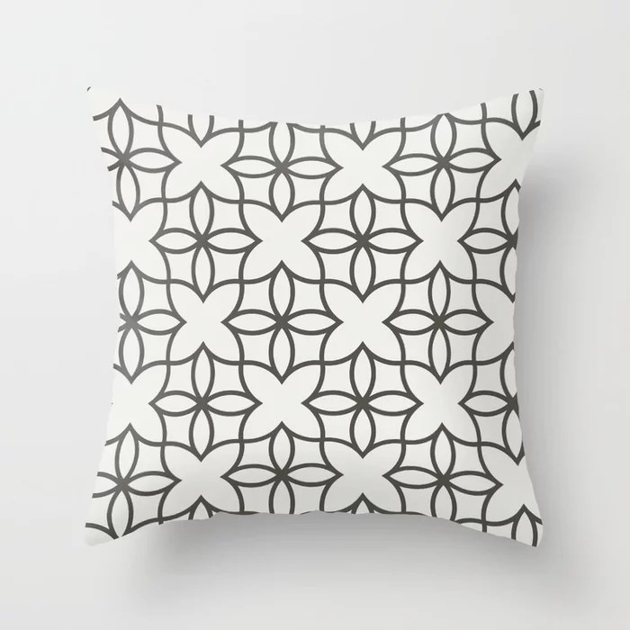 Brown and White Line Art Pattern 4 Flower 2021 Color of the Year Urbane Bronze and Extra White Throw Pillow