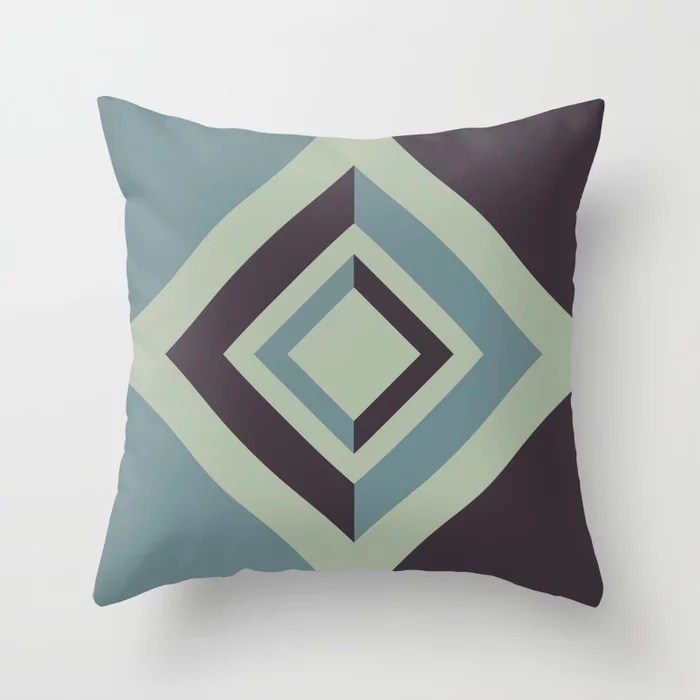 Blue-Green Green Purple Abstract Diamond Design 2021 Color of the Year Aegean Teal and Accent Shades Throw Pillow