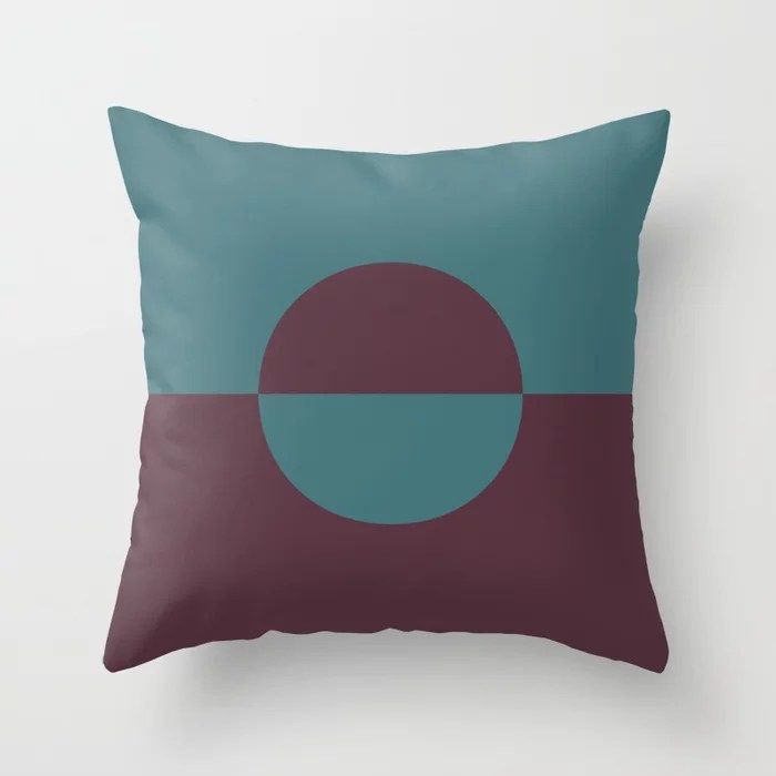 Deep Purple Aqua Minimal Circle Design 2 Throw Pillows inspired by and pairs to (matches / coordinates with) Graham and Brown 2021 Color of the Year Epoch and Whale Tail