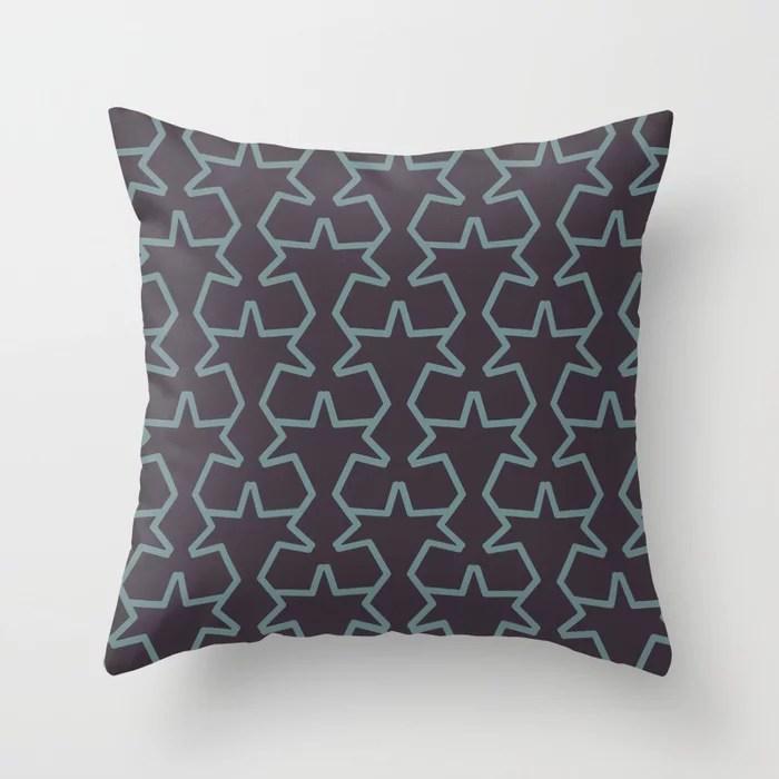 Aqua & Purple Geometric Tessellation Pattern 15 2021 Color of the Year Aegean Teal & Tulsa Twilight Throw Pillow