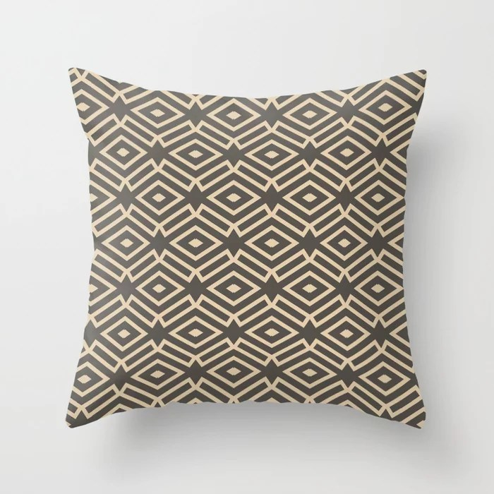 Dark Brown Tan Ornamental Shape Pattern 7 2021 Color of the Year Urbane Bronze and Ivoire Throw Pillow