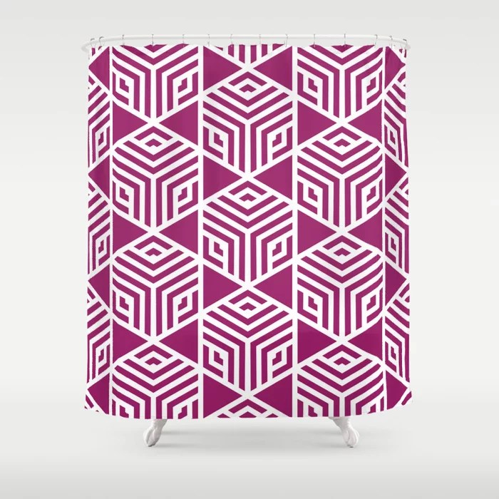 Magenta and White Stripe Cube Tile Pattern - Colour of the Year 2022 Orchid Flower 150-38-31 Shower Curtain - 2022 colour trends interior decorating fuchsia - purple - pink
