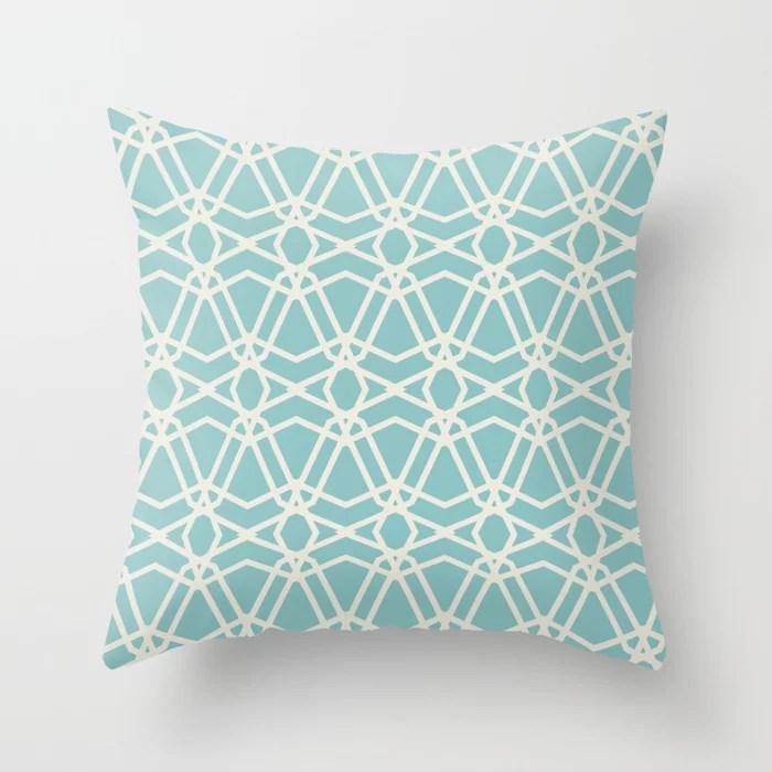 Aqua and Cream Line Geometric Pattern Chains 2021 Color of the Year Aqua Fiesta and Horseradish Throw Pillow