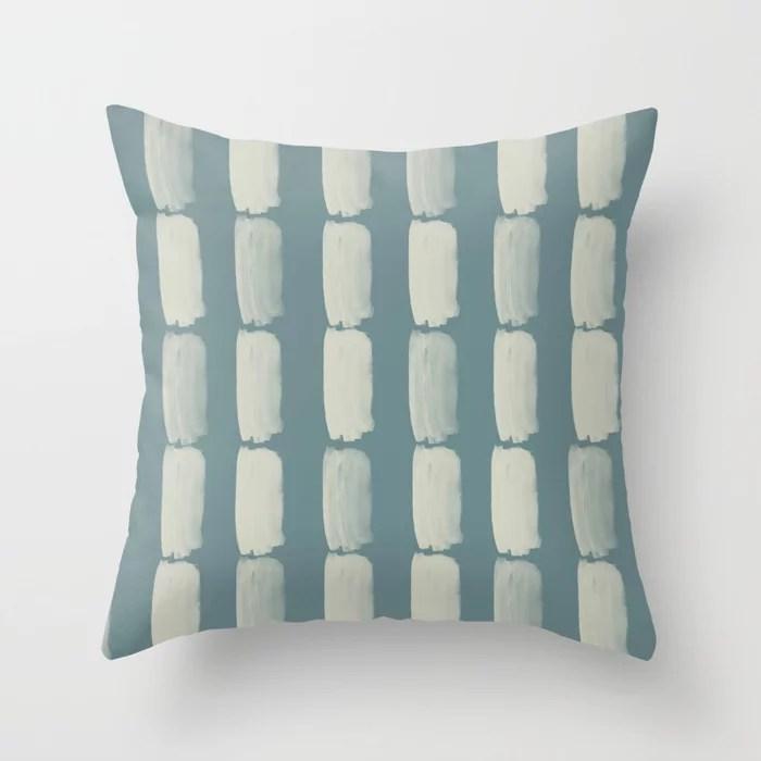 Blue-Green Beige Minimal Grid Brushstroke Pattern 2021 Color of the Year Aegean Teal Sweet Spring Throw Pillow