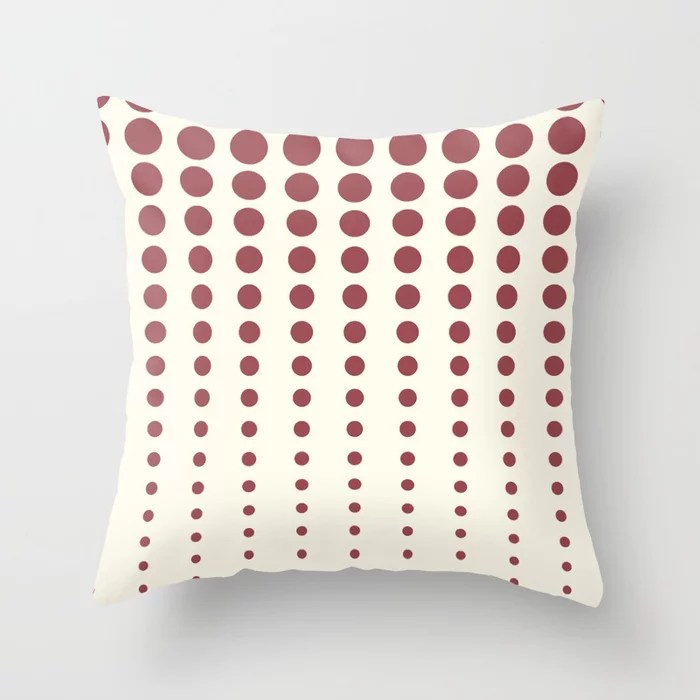 Red and Off-White Reduced Polka Dot Pattern 2021 Color of the Year Passionate and Bohemian Lace Throw Pillow