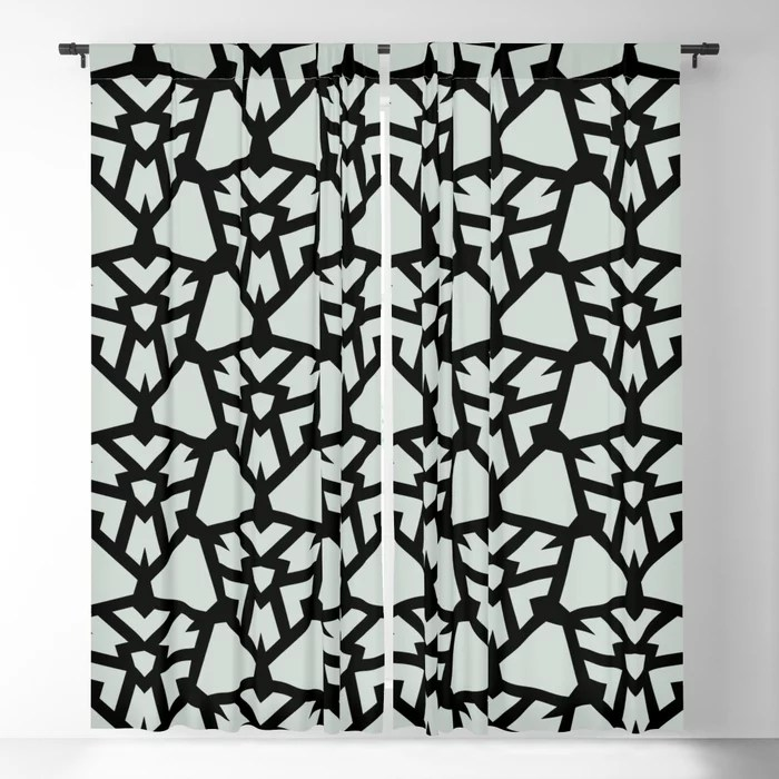 Pastel Green and Black Shield Tile Pattern Pairs Behr 2022 Color of the Year Breezeway MQ3-21 Blackout Curtain. Color for 2022