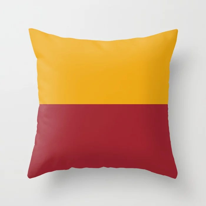 Red and Orange Minimal Line Pattern 2021 Color of the Year Satin Paprika and Satin Harvest Peach Throw Pillow