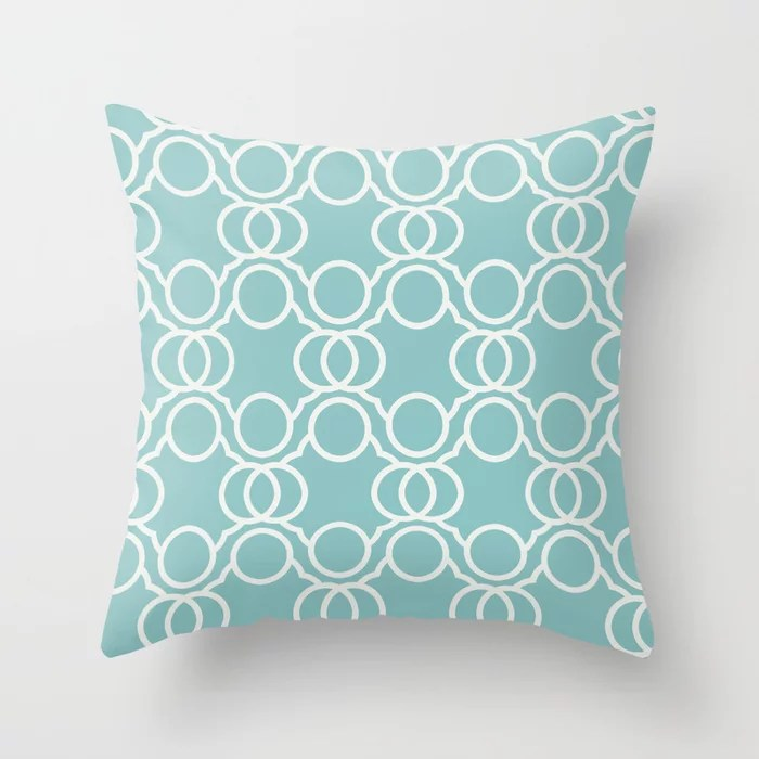 Aquamarine Geometric Circle Pattern V2 2021 Color of the Year Aqua Fiesta and Delicate White Throw Pillow