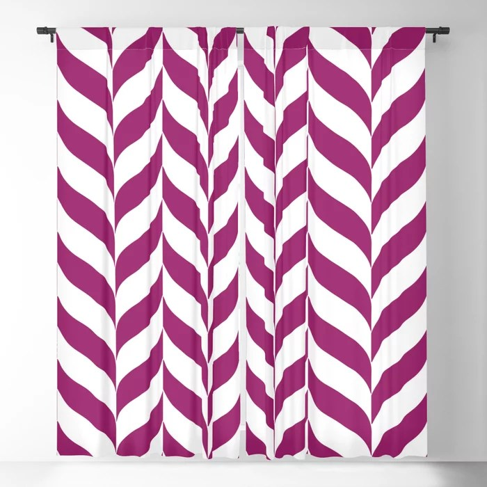 Magenta and White Pretty Herringbone Pattern - Colour of the Year 2022 Orchid Flower 150-38-31 Blackout Curtain - 2022 color trends interior design