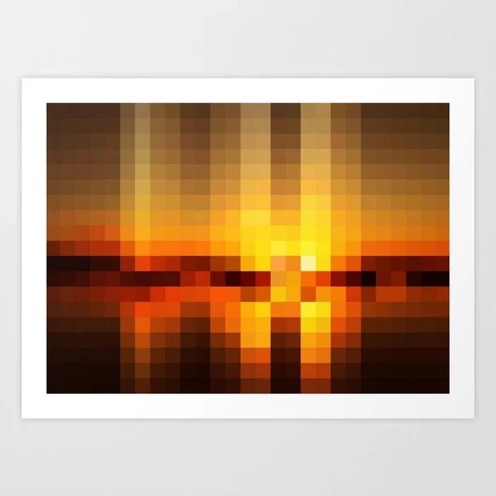 Sunday's Society6   Nature sunset pixel art print