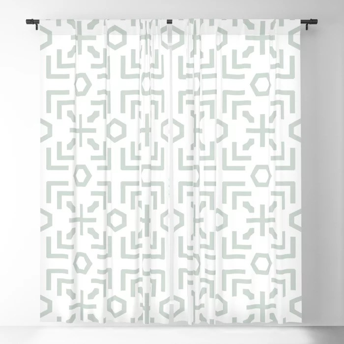 Pastel Green and White Art Deco Abstract Pattern Pairs Behr 2022 Color of the Year Breezeway MQ3-21 Blackout Curtain. Decorating colors for 2022