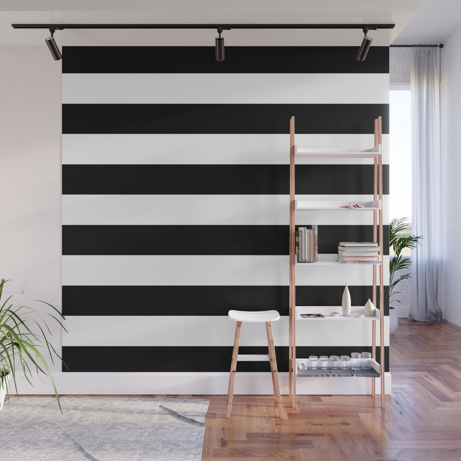 Stripe Black And White Horizontal Line Bold Minimalism Stripes Lines Wall  Mural by beautifulhomes