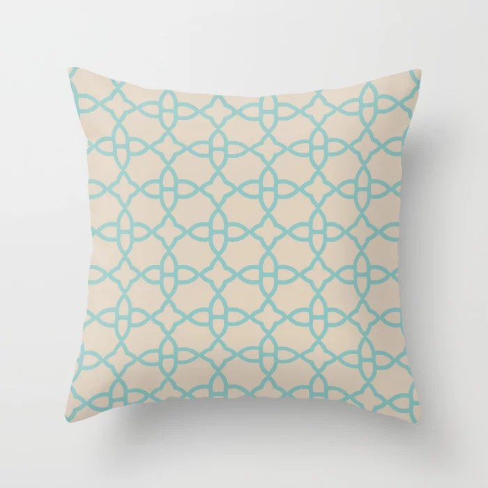 Aqua and Beige Minimal Line Art Pattern 4 2021 Color of the Year Aqua Fiesta and Sourdough Throw Pillow