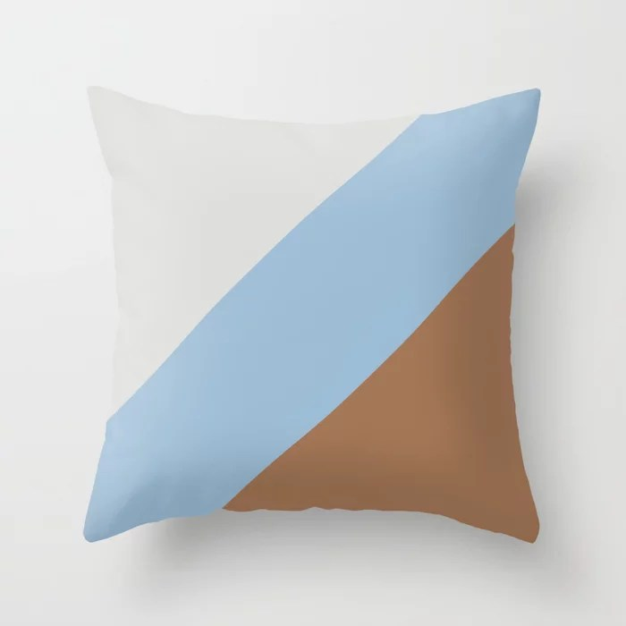 Pastel Blue Grey Brown Diagonal Stripe Pattern Throw Pillows inspired by and pairs to (matches / coordinates with) Dutch Boy 2021 Color of the Year Earth's Harmony & Accent Hues