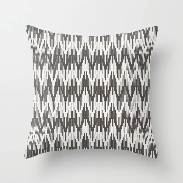 Brown Off-White Striped Chevron Ripple Pattern 2021 Color of the Year Urbane Bronze & Extra White Throw Pillow