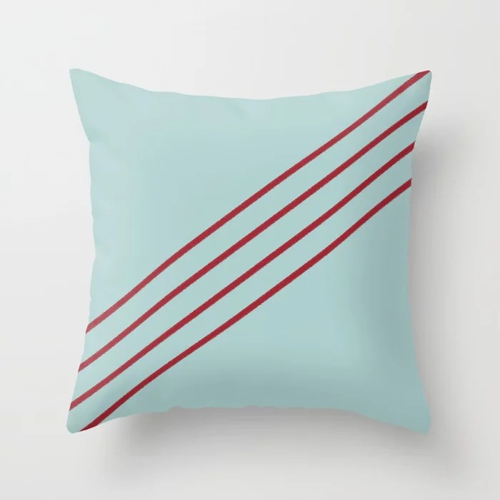 Pastel Blue and Red Angled 4 Stripe Pattern 2021 Color of the Year Satin Paprika and Serenity Blue Throw Pillow