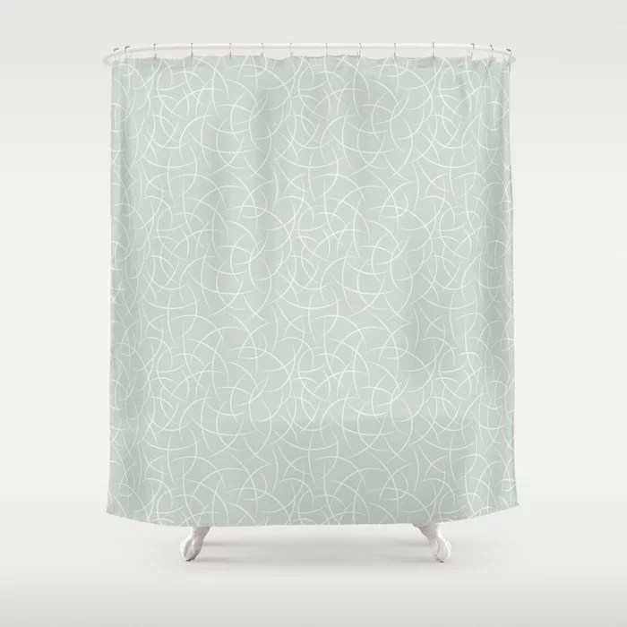 Pastel Green and Cream Crescent Shape Pattern Pairs Behr 2022 Color of the Year Breezeway MQ3-21 Shower Curtain. 2022 color trend