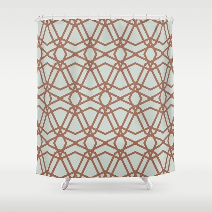Pastel Green and Clay Line Geometric Pattern Pairs Behr 2022 Color of the Year Breezeway MQ3-21 Shower Curtain. 2022 color trend