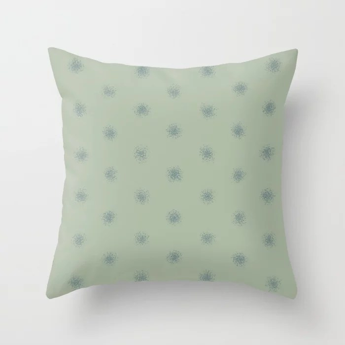 Muted Aqua and Green Splatter Polka Dot Pattern 2021 Color of the Year Aegean Teal & Salisbury Green Throw Pillow