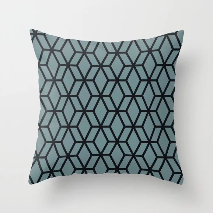 Aqua and Black Geometric Tessellation Pattern 16 Pairs 2021 Color of the Year Aegean Teal Throw Pillow
