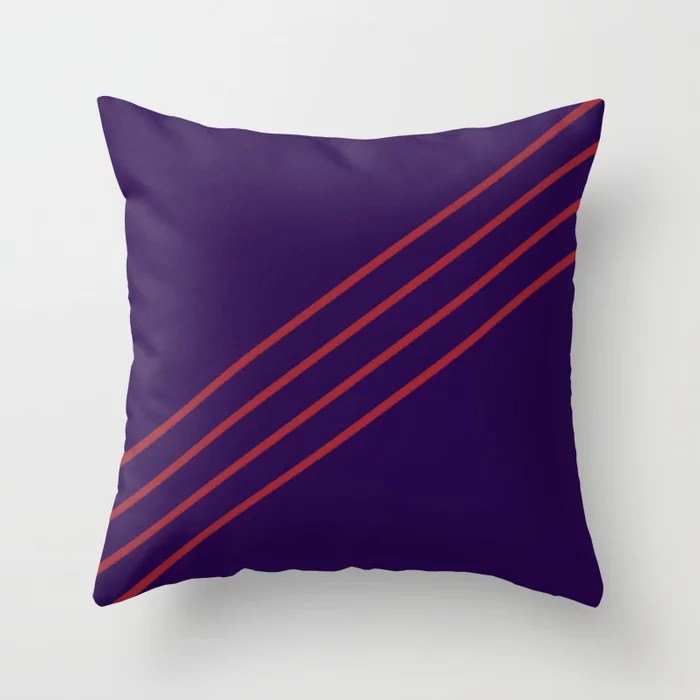 Purple and Red Angled 4 Stripe Pattern 2021 Color of the Year Satin Paprika and Purple Throw Pillow
