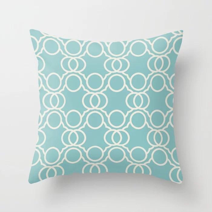 Aquamarine Cream Geometric Circle Pattern V2 2021 Color of the Year Aqua Fiesta and Horseradish Throw Pillow