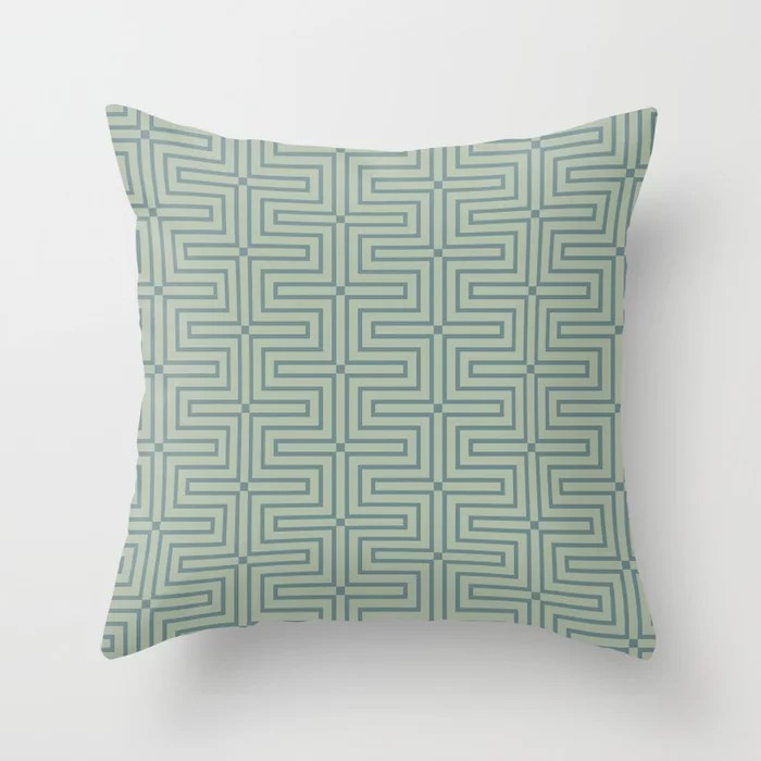 Blue-Green Green Line Art Pattern 3 V4 2021 Color of the Year Aegean Teal and Salisbury Green Throw Pillow